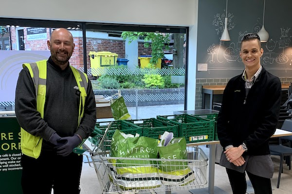 John Lewis staff delivering essential food packages