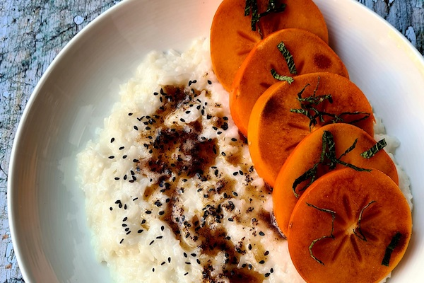 Recipe: sticky coconut rice, cinnamon butter and persimmon